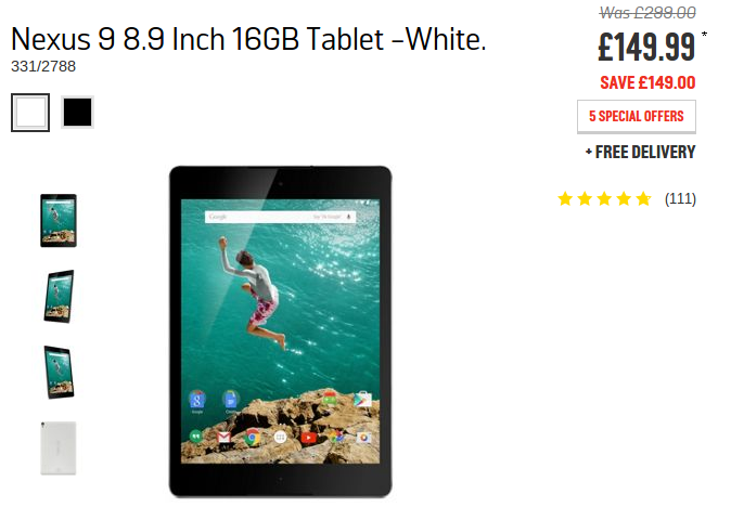 Google Nexus 9, now crazy cheap at Argos