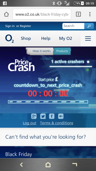 O2 Pricecrash has ... well, crashed