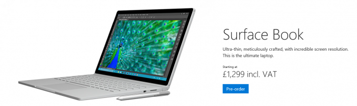 Microsoft Surface Book now available for pre order in the UK