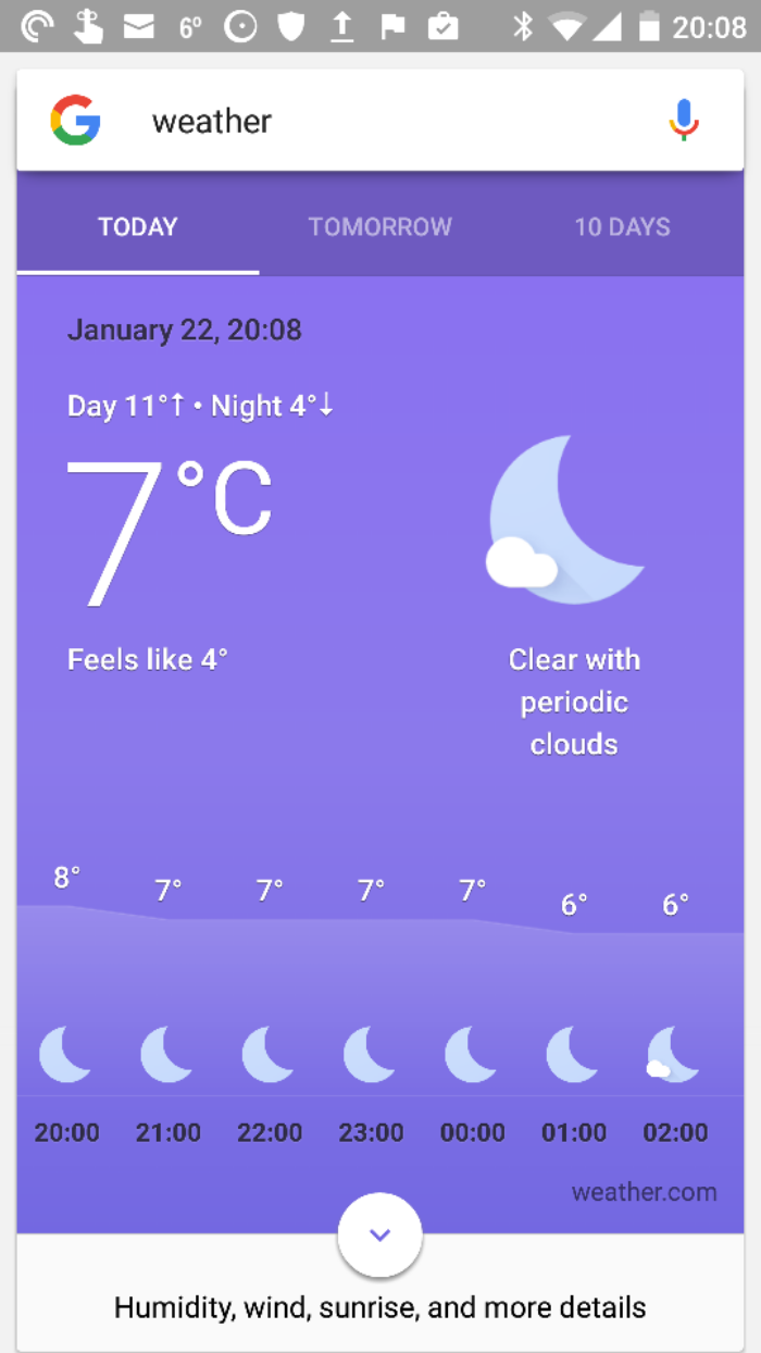 Google updates its Now Weather app