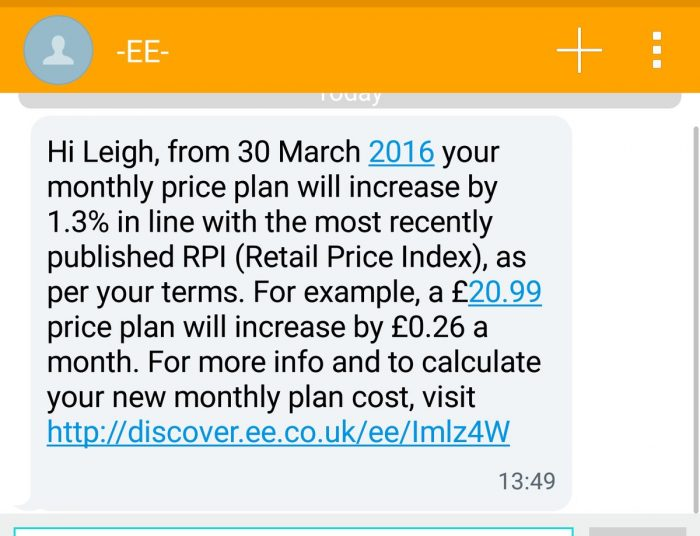 EE increases prices as part of their yearly RPI rise