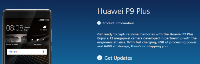 Huawei P9 Plus coming to O2 too