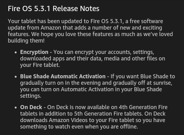 Amazon Fire tablets updated to Fire OS 5.3.1