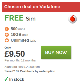 Vodafone   10GB SIM only for just £11.59 per month
