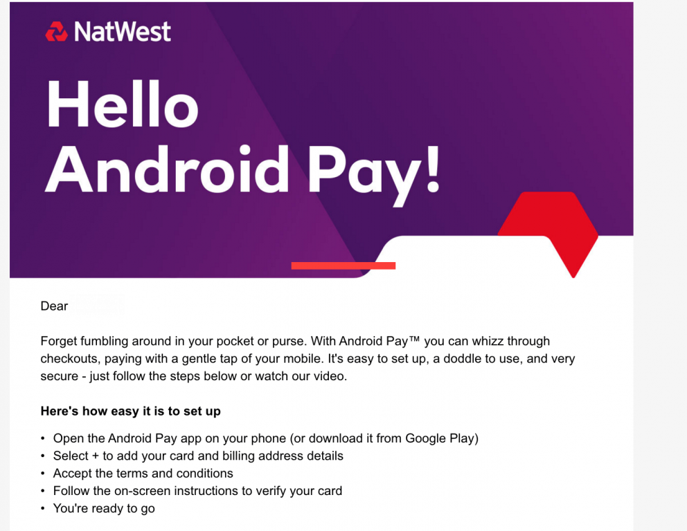NatWest gets abreast of Android Pay