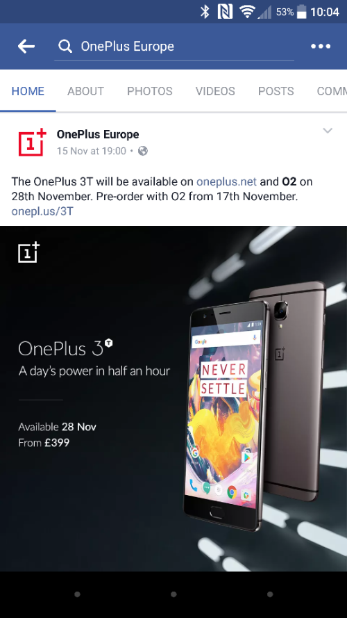 OnePlus 3T   Pre order tomorrow to get it on O2