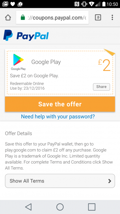 Save £2 on Google Play when you pay with PayPal
