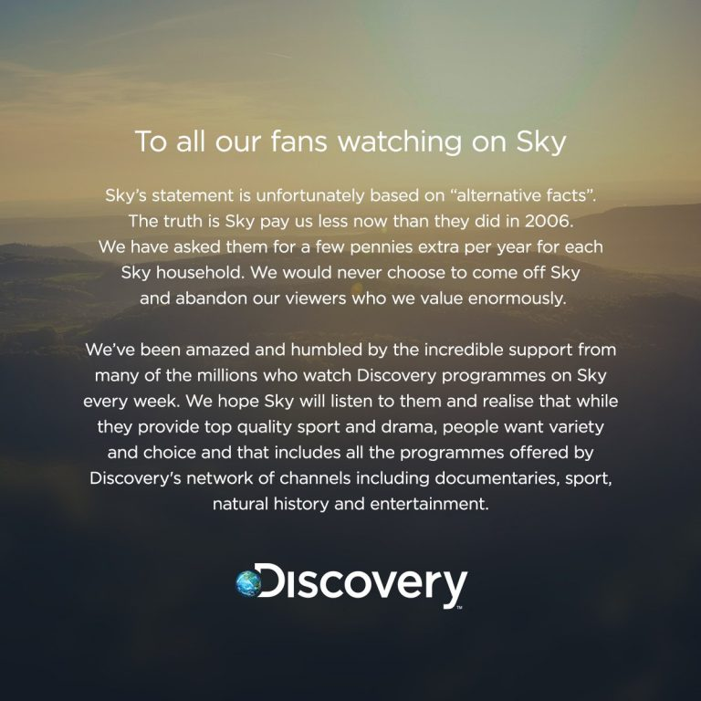 Sky to add internet TV services, but the Discovery channels are about to go