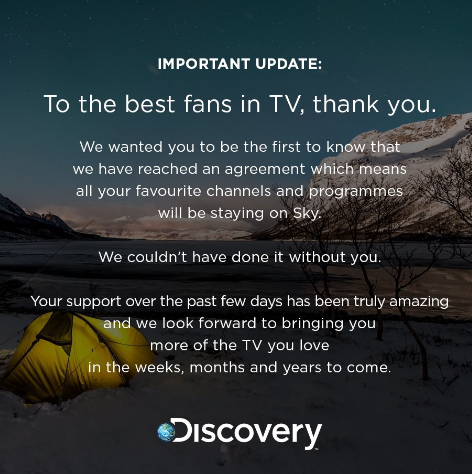 Sky TV and Discovery do a last minute deal. Channels to remain.