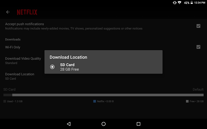 Netflix now allows content to be saved to SD Card.
