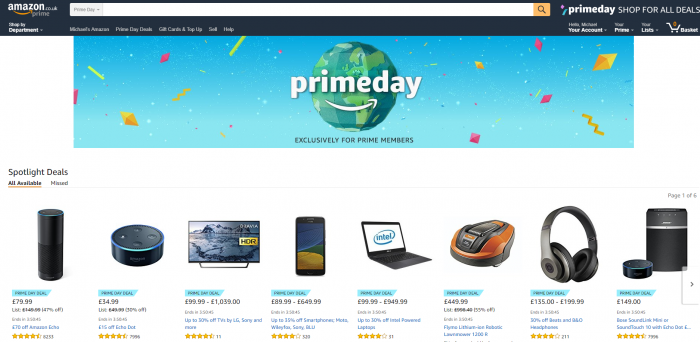 Amazon Prime Day upon us with lots of price reductions