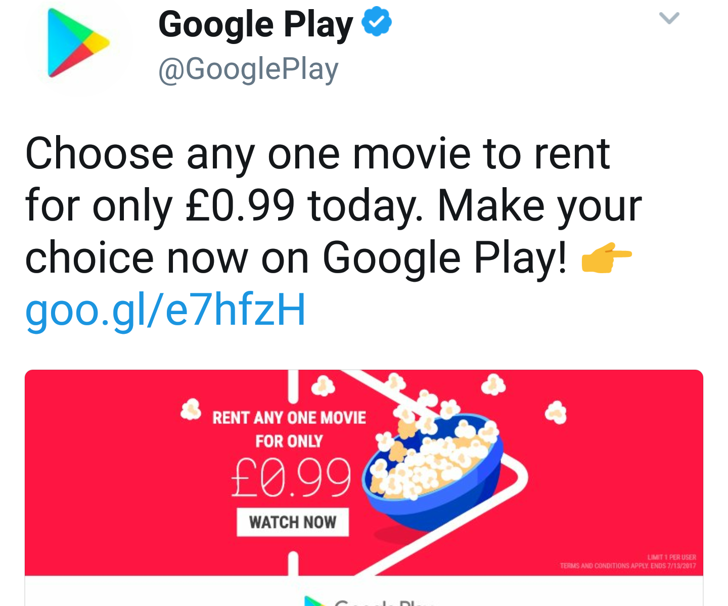 Google Play serving up a 99p movie rental