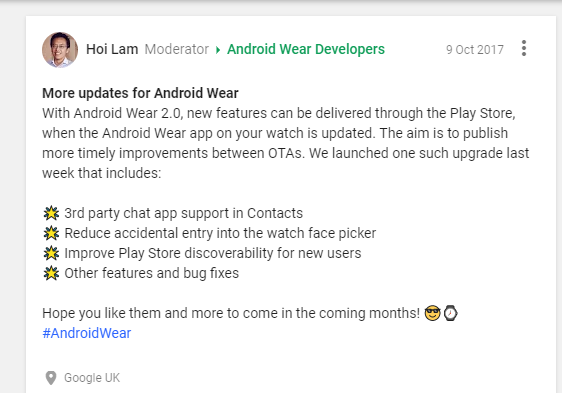 Updates to Android Wear to be made available via the Play Store