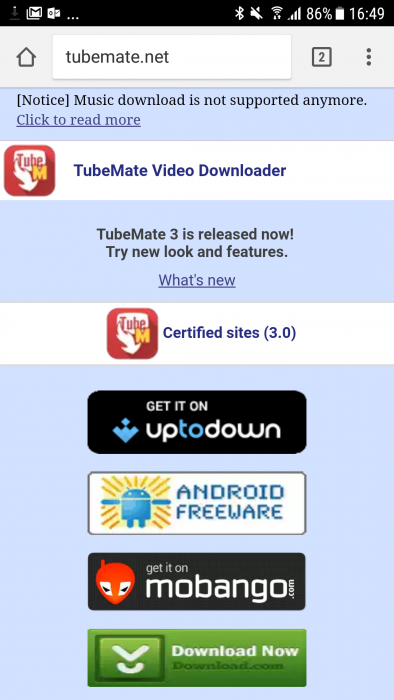 TubeMate now blocks music downloading, which was the whole reason it existed