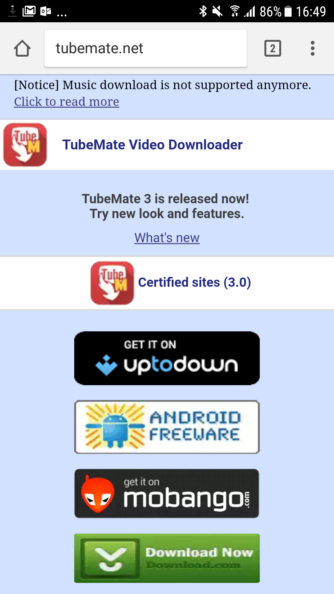 TubeMate now blocks music downloading, which was the whole