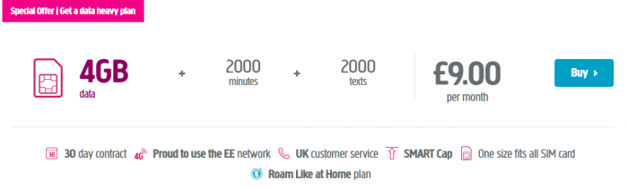 £9 every month for 4GB of data