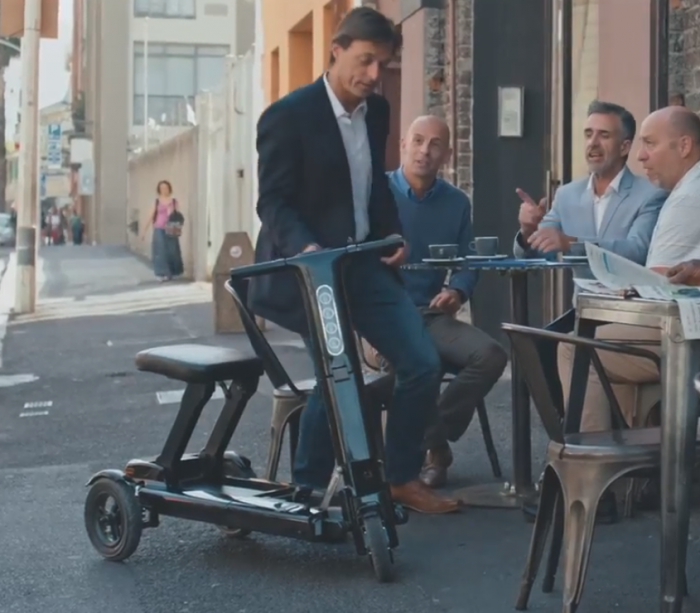 A smart folding mobility scooter with style. Relync