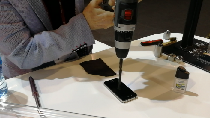 #MWC18   MyScreen Protector, a phone, a drill. What could go wrong?