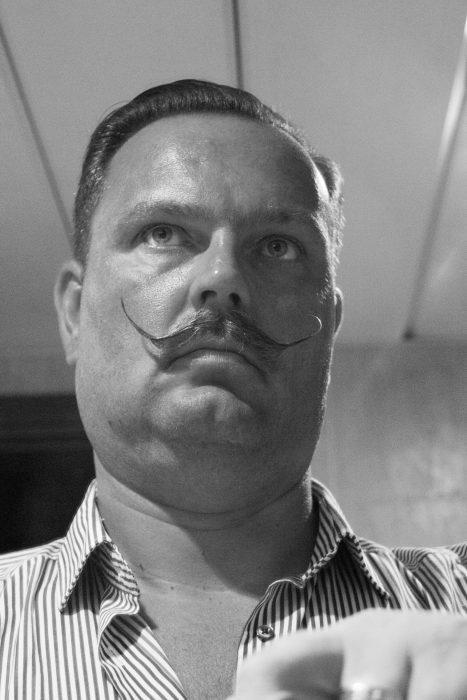 moustache self protrait in Black and White