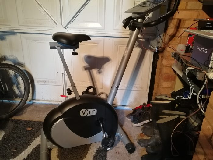 Feature   My makeshift office / exercise bike