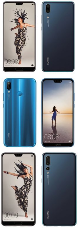 The Huawei P20, P20 Lite and P20 Pro. Pictured.