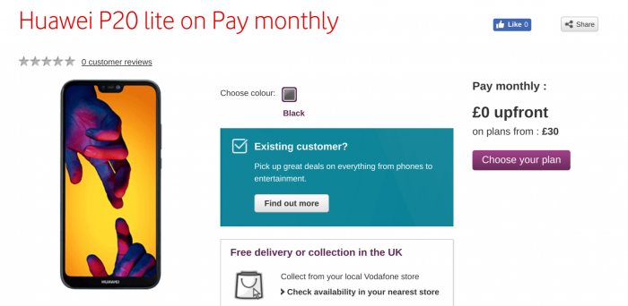 Huawei P20 Lite now at Vodafone UK