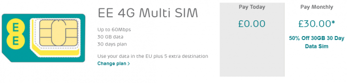 EE SIM Only deal. Watch that price halve with the magic code!