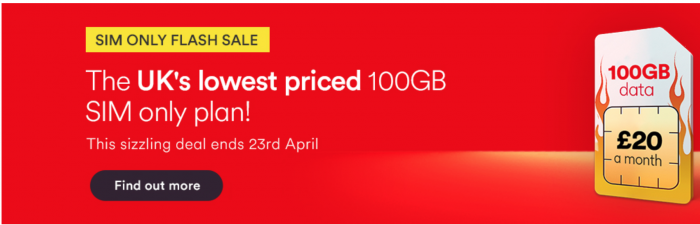 Grab a 100GB SIM for £20 on Virgin