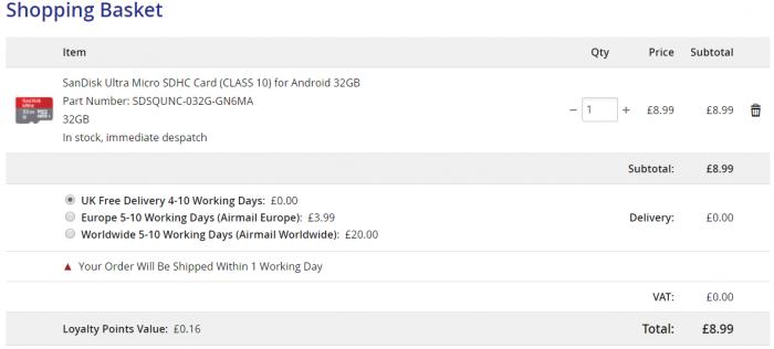SanDisk Ultra 32GB microSD card. Cheap deal!