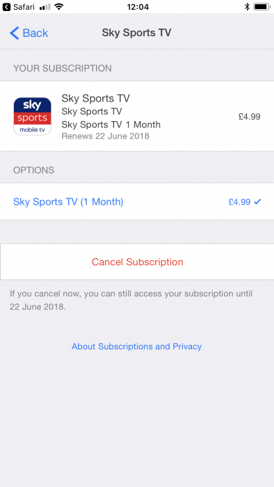 Solving aubscription issues on the Sky Sports Mobile TV App