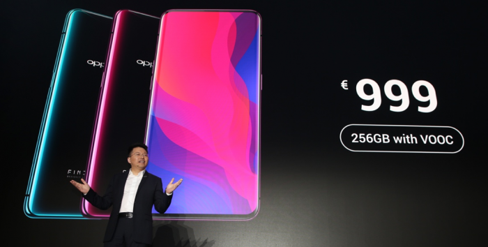 Oppo Find X. We dont need no stinkin notch! BEHOLD! THE POP UP CAMERA!