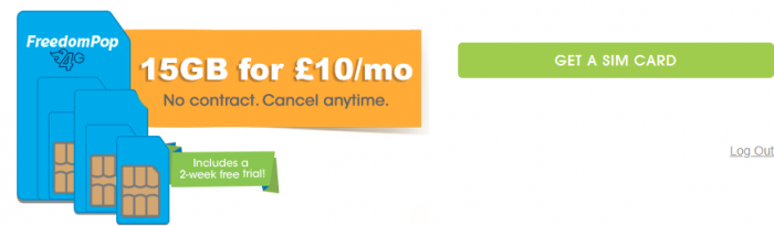 FreedomPop 15GB deal for £10 per month