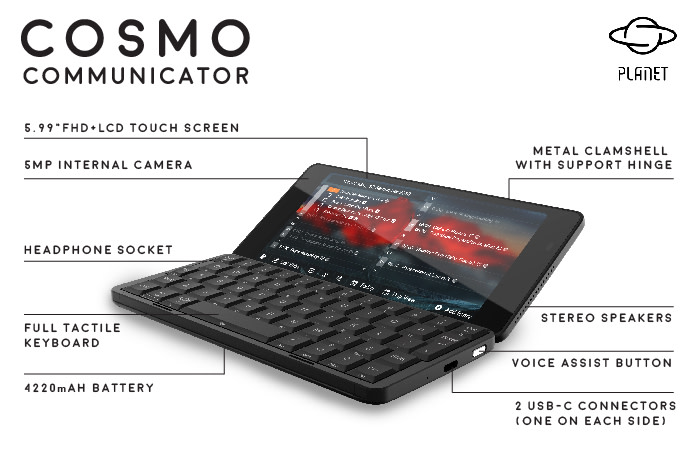 Planet Computers announce a successor to the Gemini, the Cosmo!