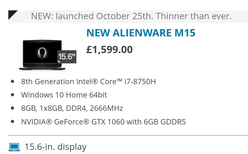 Alienware thin and light gaming laptop   The M15