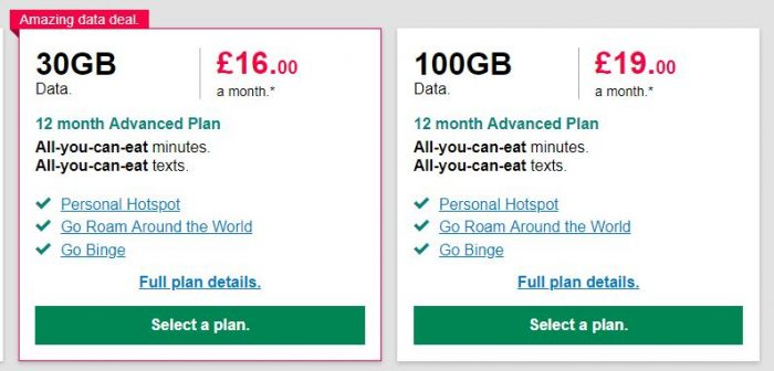 100GB data deal on Three. £19 per month, but we can tell you how to get it for nearly £14