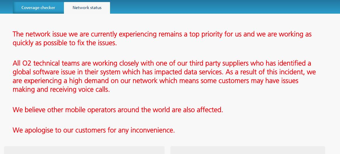 LIVE) No O2 for you too? Network problems continue to rumble