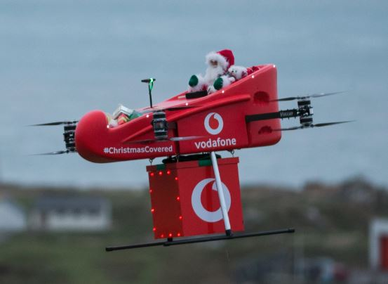 Santa flies in, powered by Vodafone