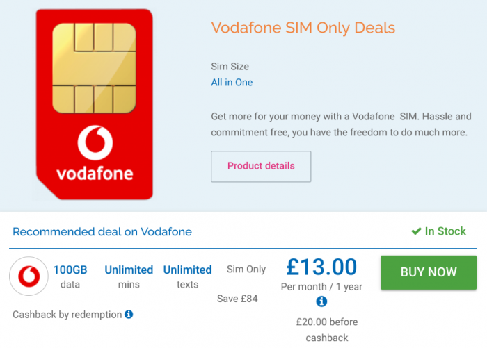 Deal   Vodafone SIM only 100GB Deal