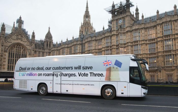 Three roll out their own Brexit bus