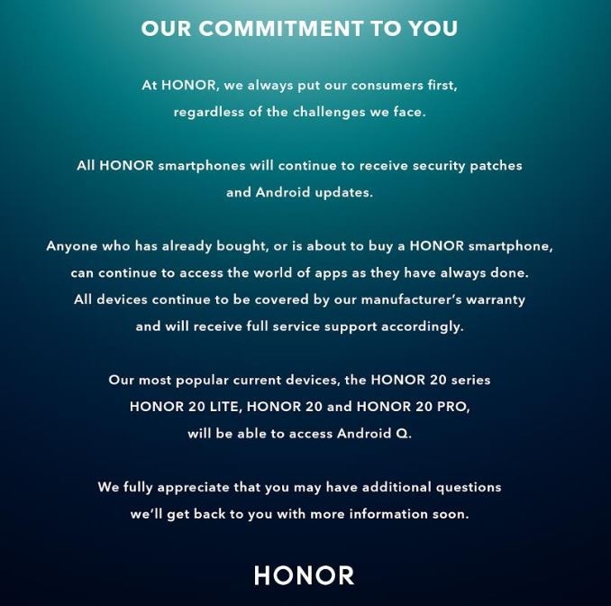 Now Honor seek to reassure customers