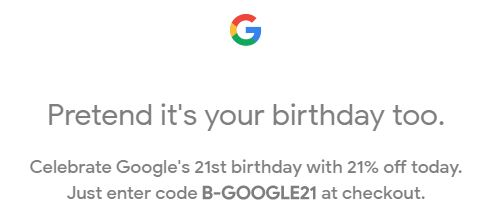 Save 21% on (almost all) Google kit today!
