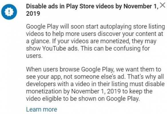 Google Play to start auto playing videos.